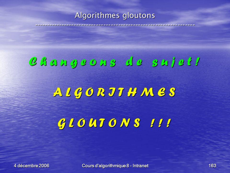 4 décembre 2006Cours d'algorithmique 8 - Intranet163 Algorithmes gloutons ----------------------------------------------------------------- C h a n g