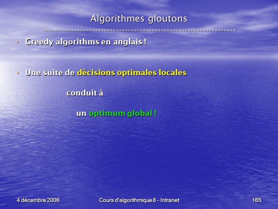 4 décembre 2006Cours d'algorithmique 8 - Intranet165 Algorithmes gloutons ----------------------------------------------------------------- Greedy alg
