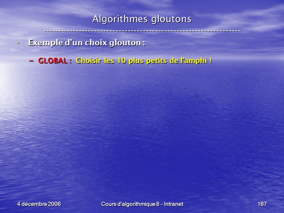 4 décembre 2006Cours d'algorithmique 8 - Intranet167 Algorithmes gloutons ----------------------------------------------------------------- Exemple du