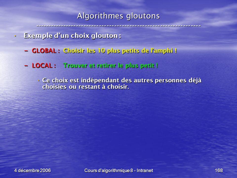 4 décembre 2006Cours d'algorithmique 8 - Intranet168 Algorithmes gloutons ----------------------------------------------------------------- Exemple du