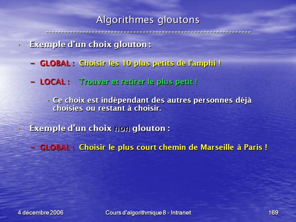 4 décembre 2006Cours d'algorithmique 8 - Intranet169 Algorithmes gloutons ----------------------------------------------------------------- Exemple du
