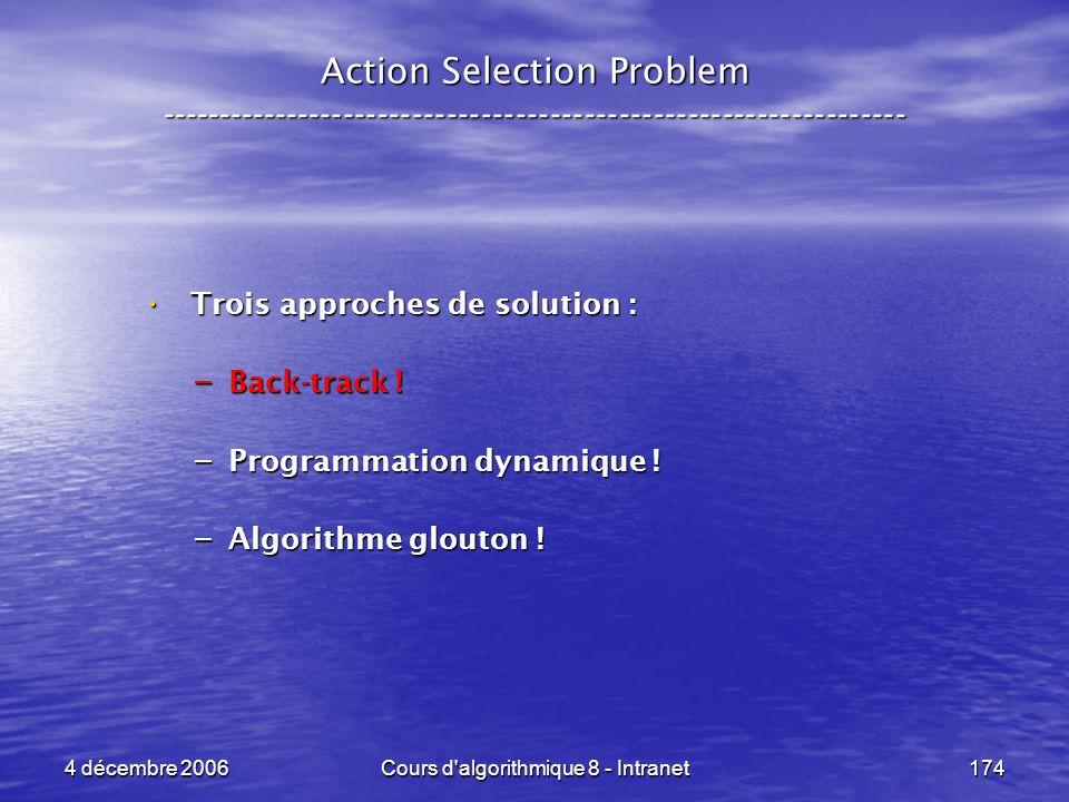 4 décembre 2006Cours d'algorithmique 8 - Intranet174 Trois approches de solution : Trois approches de solution : – Back-track ! – Programmation dynami