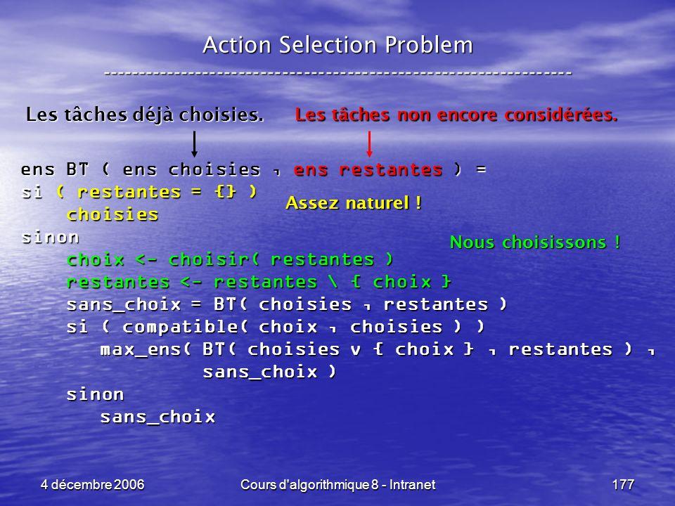 4 décembre 2006Cours d'algorithmique 8 - Intranet177 Action Selection Problem ----------------------------------------------------------------- ens BT