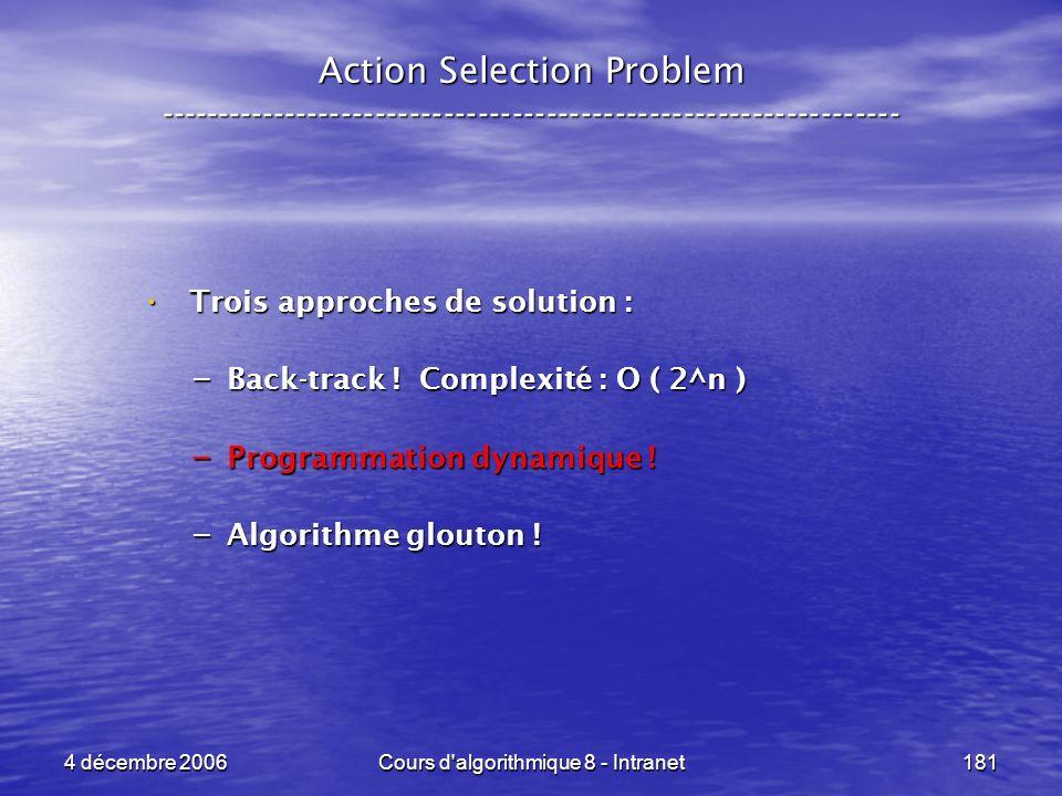 4 décembre 2006Cours d'algorithmique 8 - Intranet181 Trois approches de solution : Trois approches de solution : – Back-track ! Complexité : O ( 2^n )