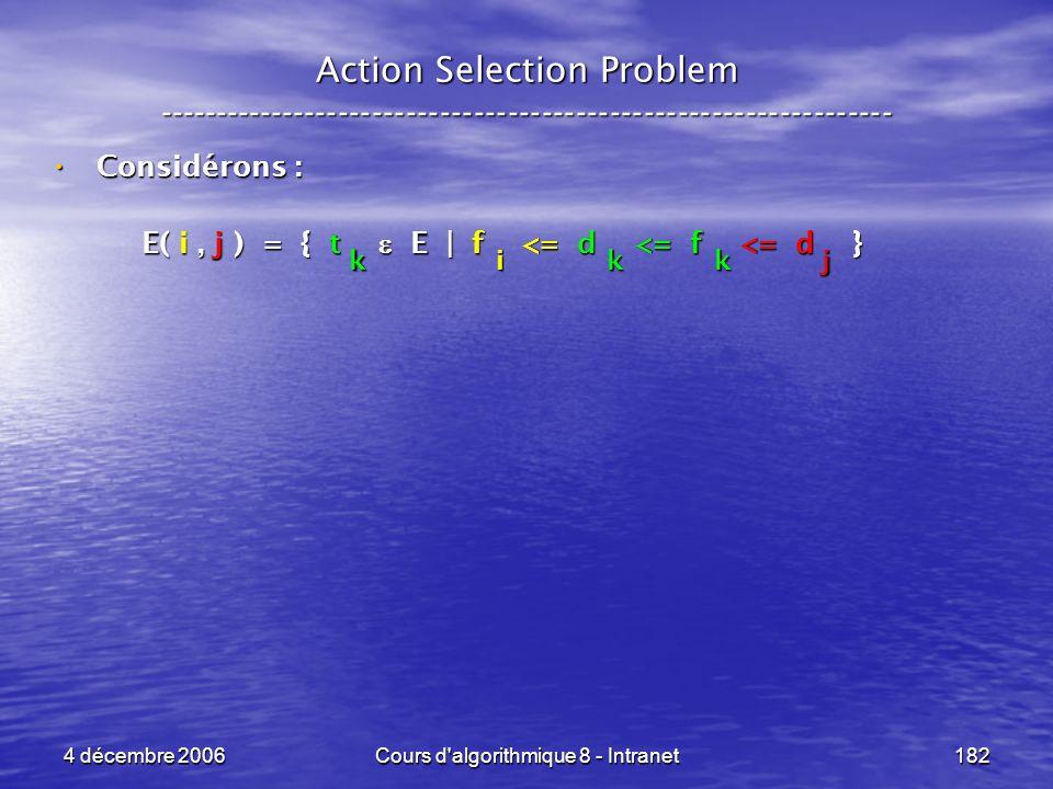 4 décembre 2006Cours d'algorithmique 8 - Intranet182 Action Selection Problem ----------------------------------------------------------------- Consid