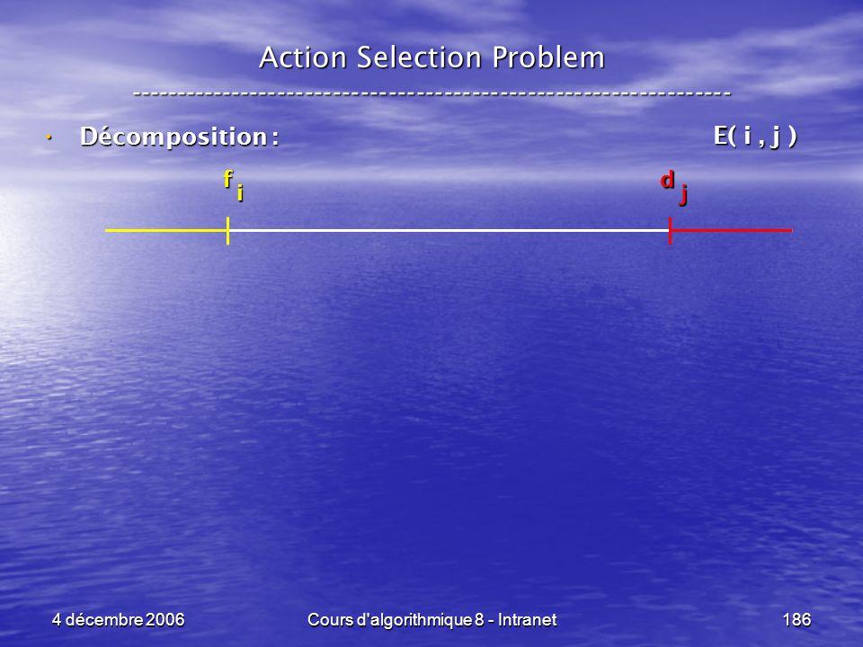4 décembre 2006Cours d'algorithmique 8 - Intranet186 Décomposition : Décomposition : Action Selection Problem ----------------------------------------