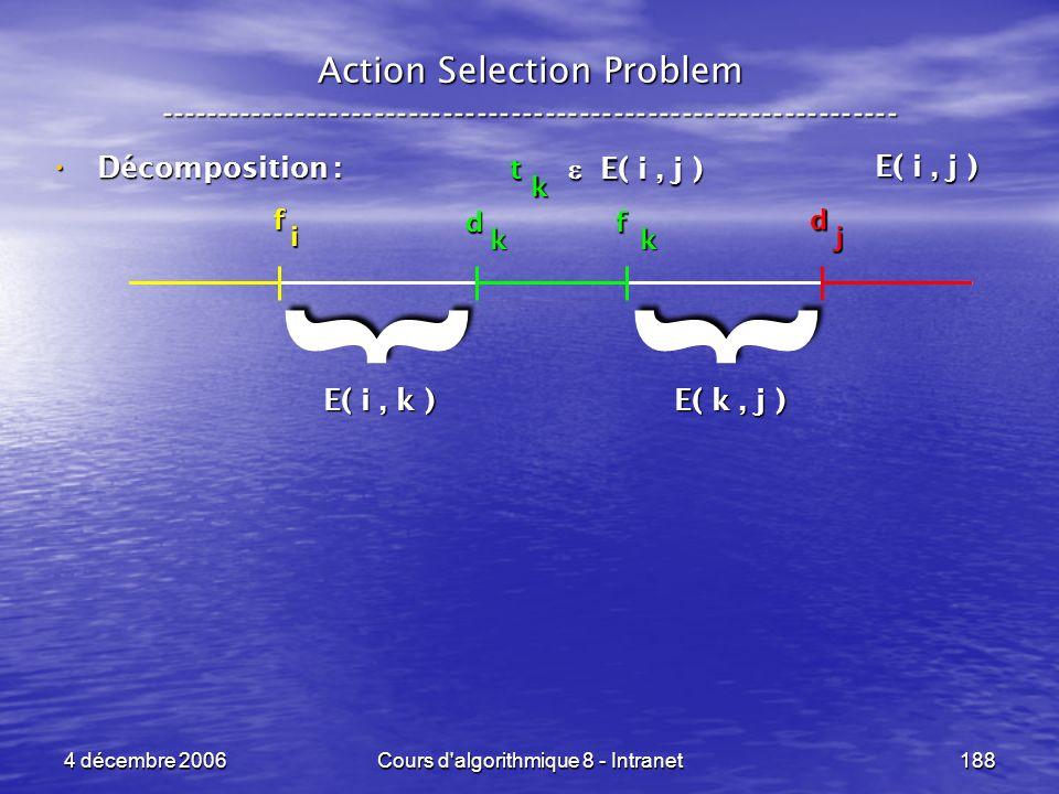 4 décembre 2006Cours d'algorithmique 8 - Intranet188 Décomposition : Décomposition : Action Selection Problem ----------------------------------------