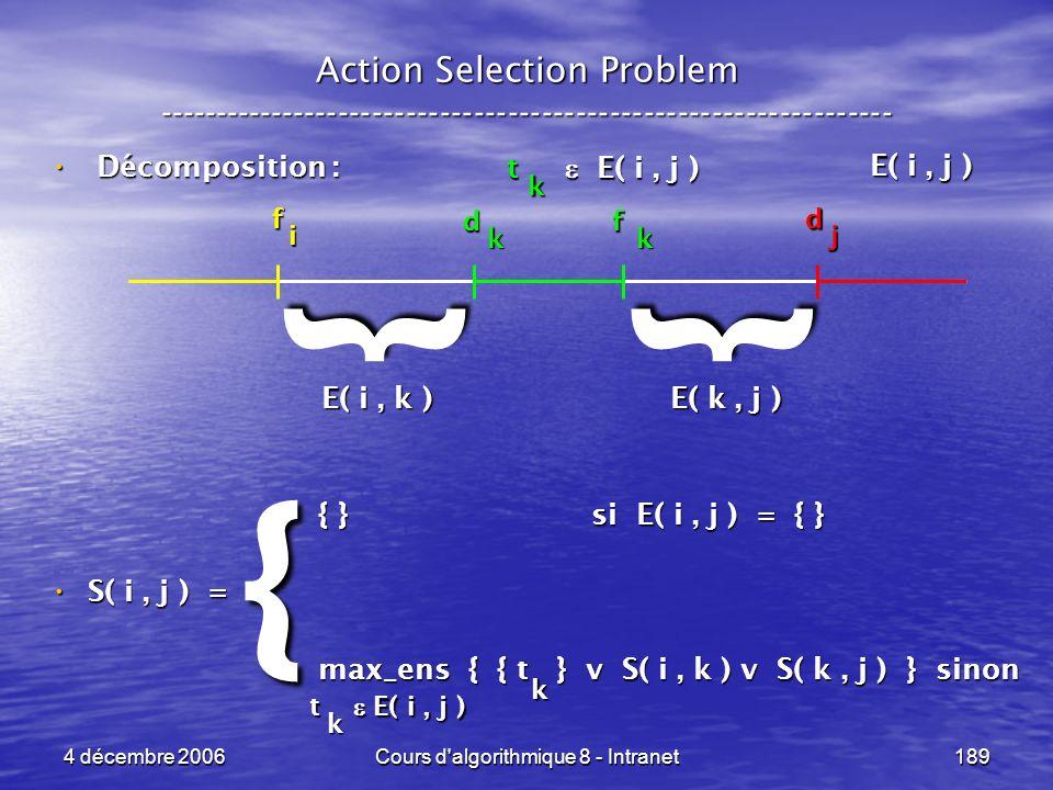 4 décembre 2006Cours d'algorithmique 8 - Intranet189 Décomposition : Décomposition : { } si E( i, j ) = { } { } si E( i, j ) = { } S( i, j ) = S( i, j