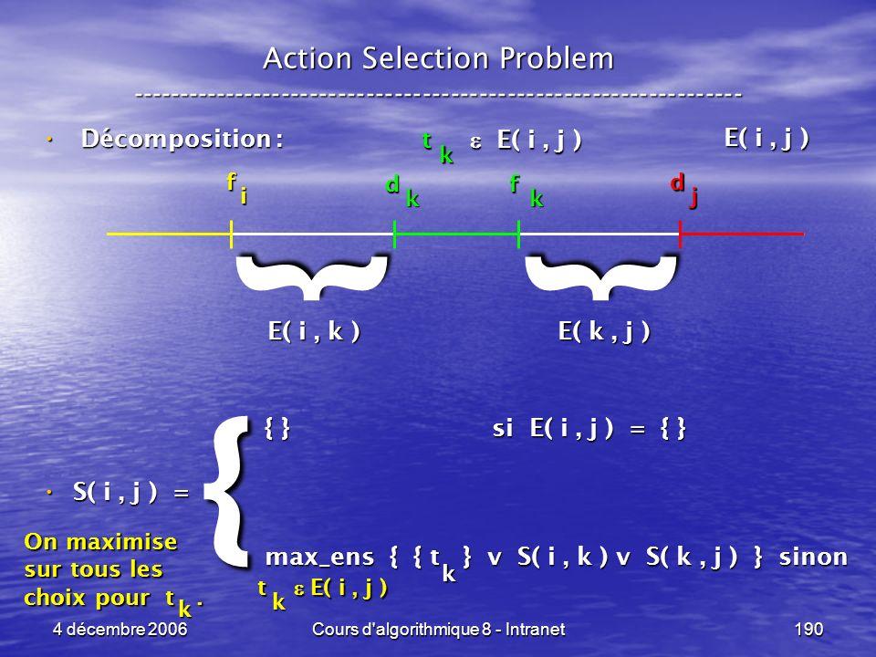 4 décembre 2006Cours d'algorithmique 8 - Intranet190 Action Selection Problem ----------------------------------------------------------------- d j f