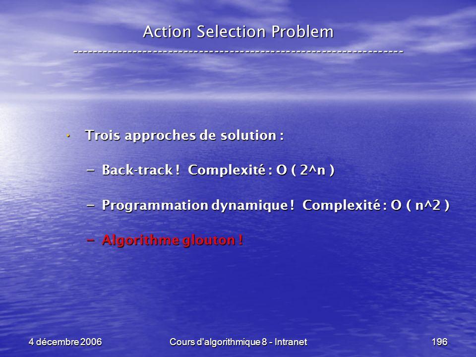 4 décembre 2006Cours d'algorithmique 8 - Intranet196 Action Selection Problem ----------------------------------------------------------------- Trois
