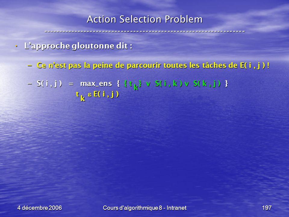 4 décembre 2006Cours d'algorithmique 8 - Intranet197 Action Selection Problem ----------------------------------------------------------------- Lappro