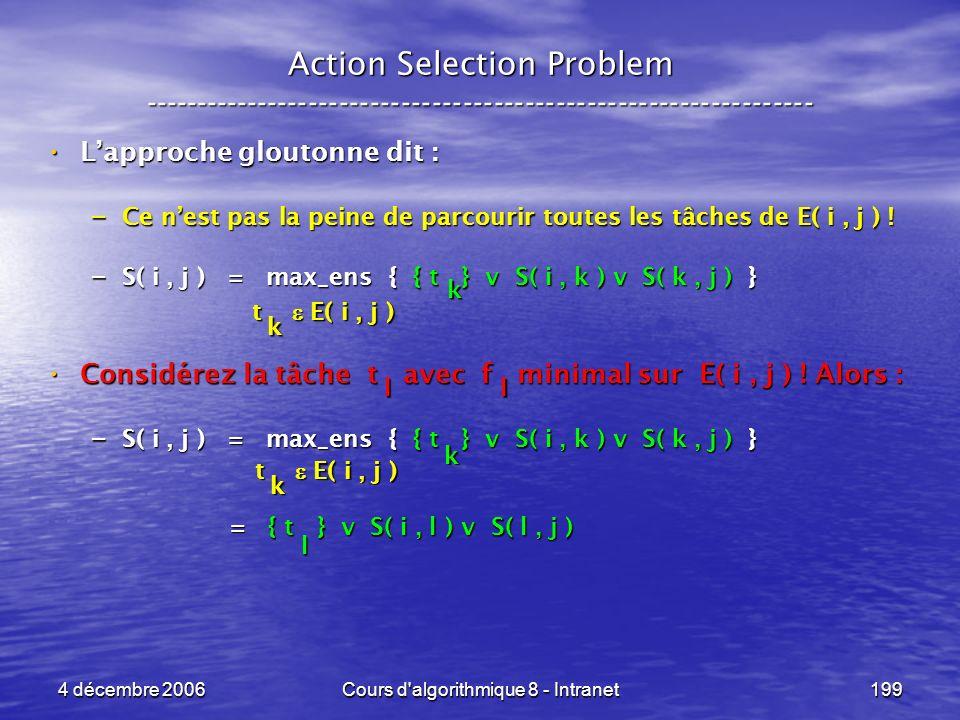 4 décembre 2006Cours d'algorithmique 8 - Intranet199 Action Selection Problem ----------------------------------------------------------------- Lappro