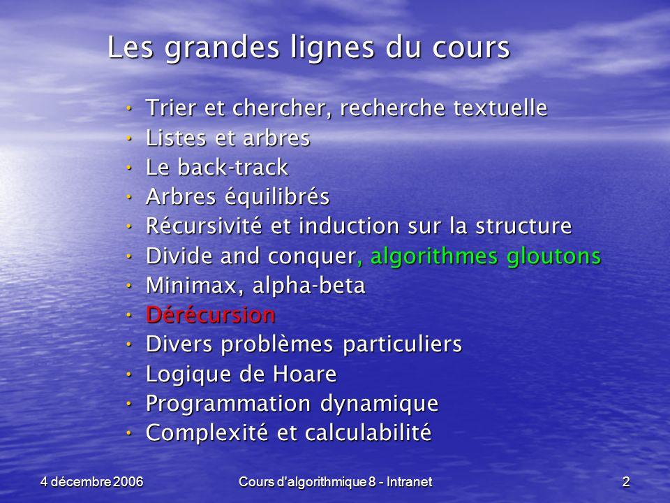 4 décembre 2006Cours d'algorithmique 8 - Intranet2 Trier et chercher, recherche textuelle Trier et chercher, recherche textuelle Listes et arbres List