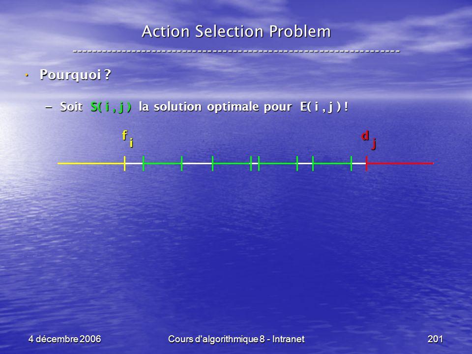 4 décembre 2006Cours d'algorithmique 8 - Intranet201 Action Selection Problem ----------------------------------------------------------------- Pourqu