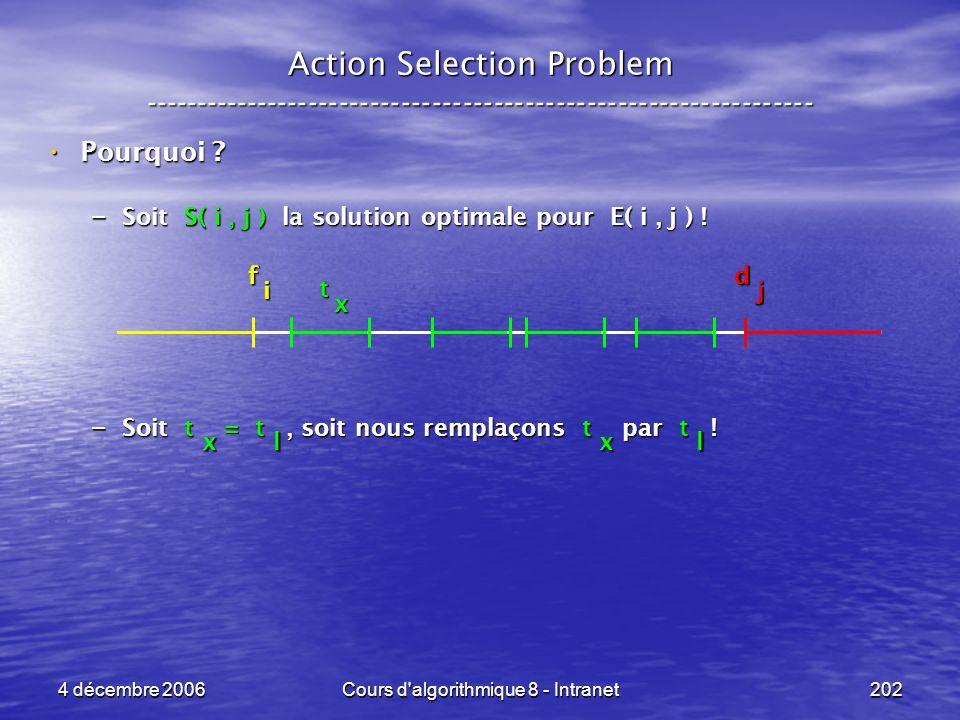 4 décembre 2006Cours d'algorithmique 8 - Intranet202 x Action Selection Problem ----------------------------------------------------------------- Pour