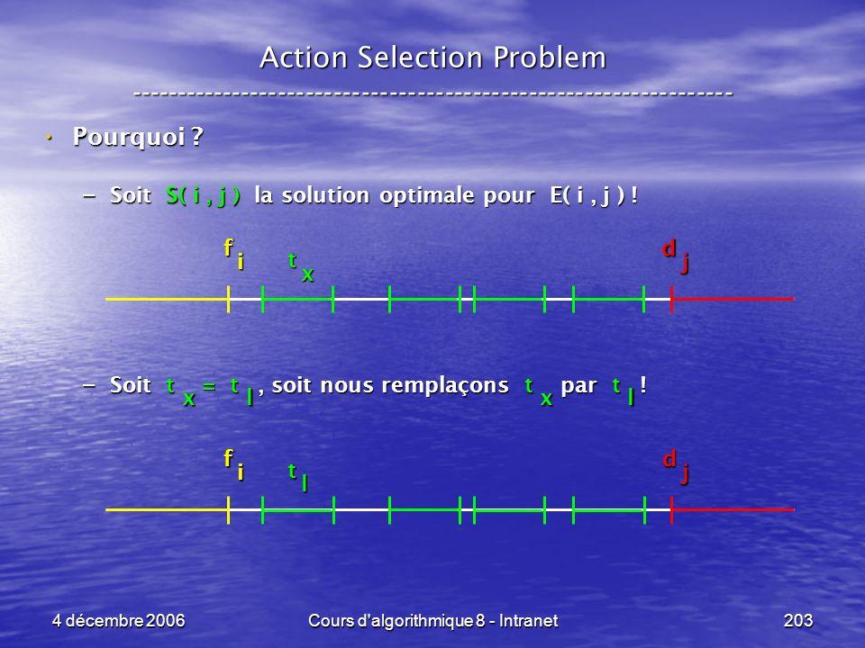 4 décembre 2006Cours d'algorithmique 8 - Intranet203 x Action Selection Problem ----------------------------------------------------------------- Pour