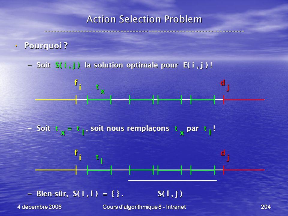 4 décembre 2006Cours d'algorithmique 8 - Intranet204 x Action Selection Problem ----------------------------------------------------------------- Pour