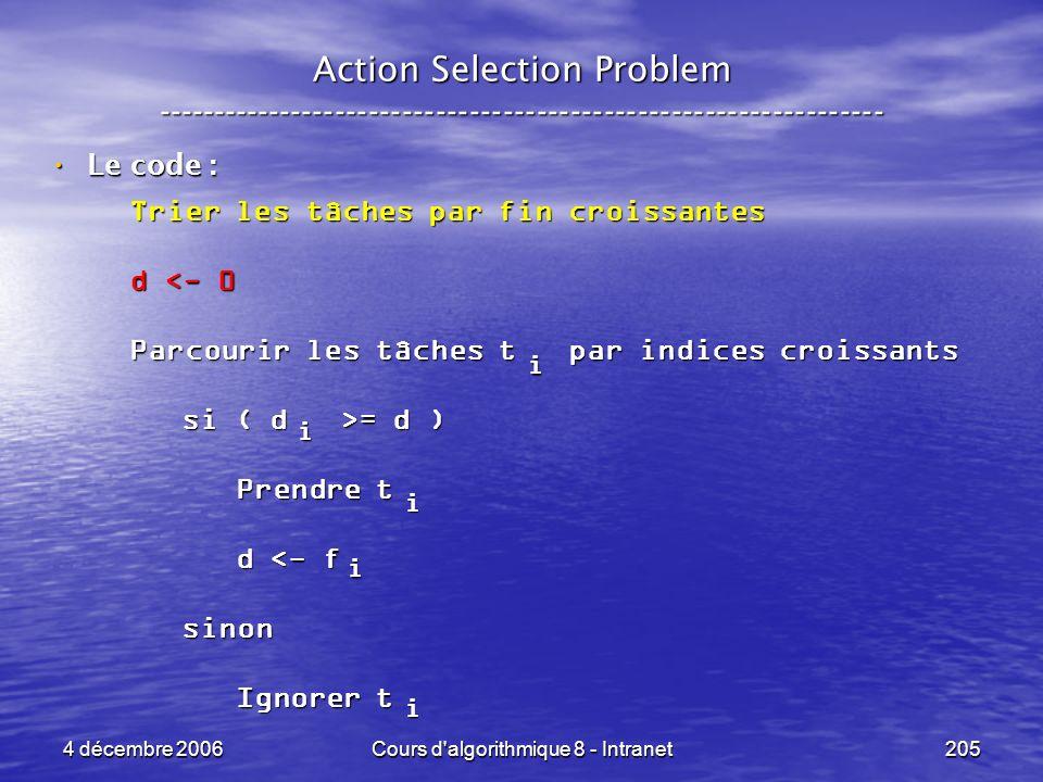4 décembre 2006Cours d'algorithmique 8 - Intranet205 Action Selection Problem ----------------------------------------------------------------- Le cod