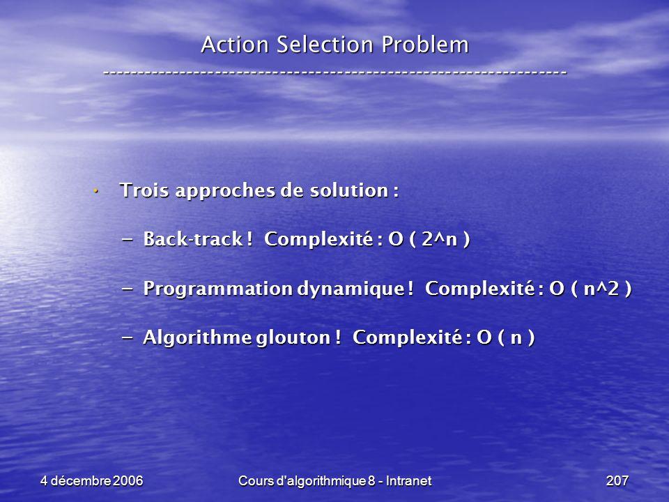 4 décembre 2006Cours d'algorithmique 8 - Intranet207 Action Selection Problem ----------------------------------------------------------------- Trois