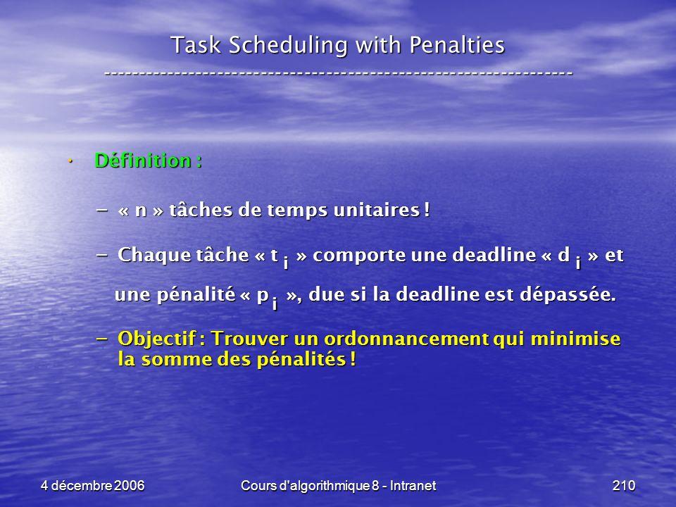 4 décembre 2006Cours d'algorithmique 8 - Intranet210 Task Scheduling with Penalties -----------------------------------------------------------------