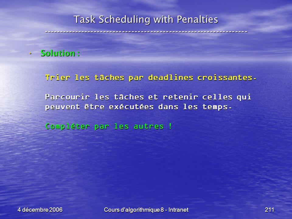 4 décembre 2006Cours d'algorithmique 8 - Intranet211 Task Scheduling with Penalties -----------------------------------------------------------------