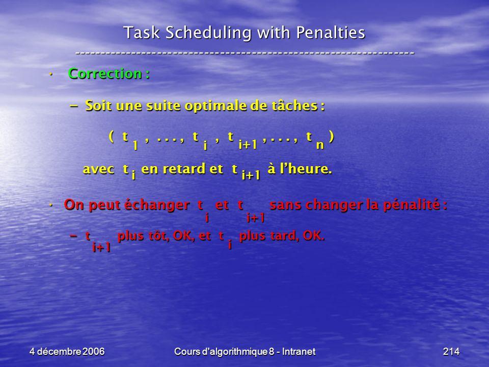 4 décembre 2006Cours d'algorithmique 8 - Intranet214 Task Scheduling with Penalties -----------------------------------------------------------------