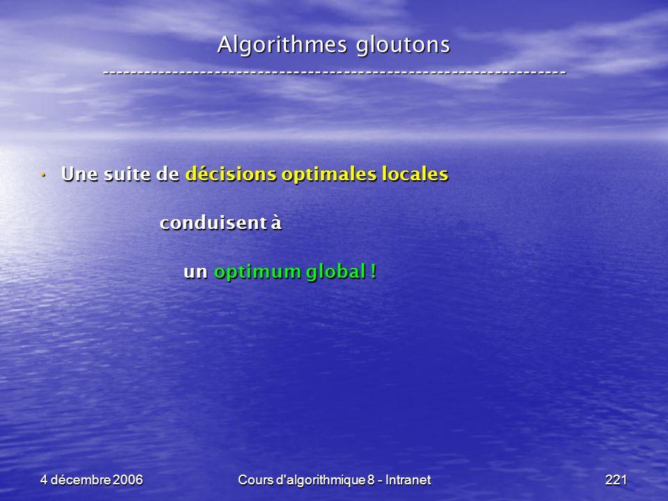 4 décembre 2006Cours d'algorithmique 8 - Intranet221 Algorithmes gloutons ----------------------------------------------------------------- Une suite