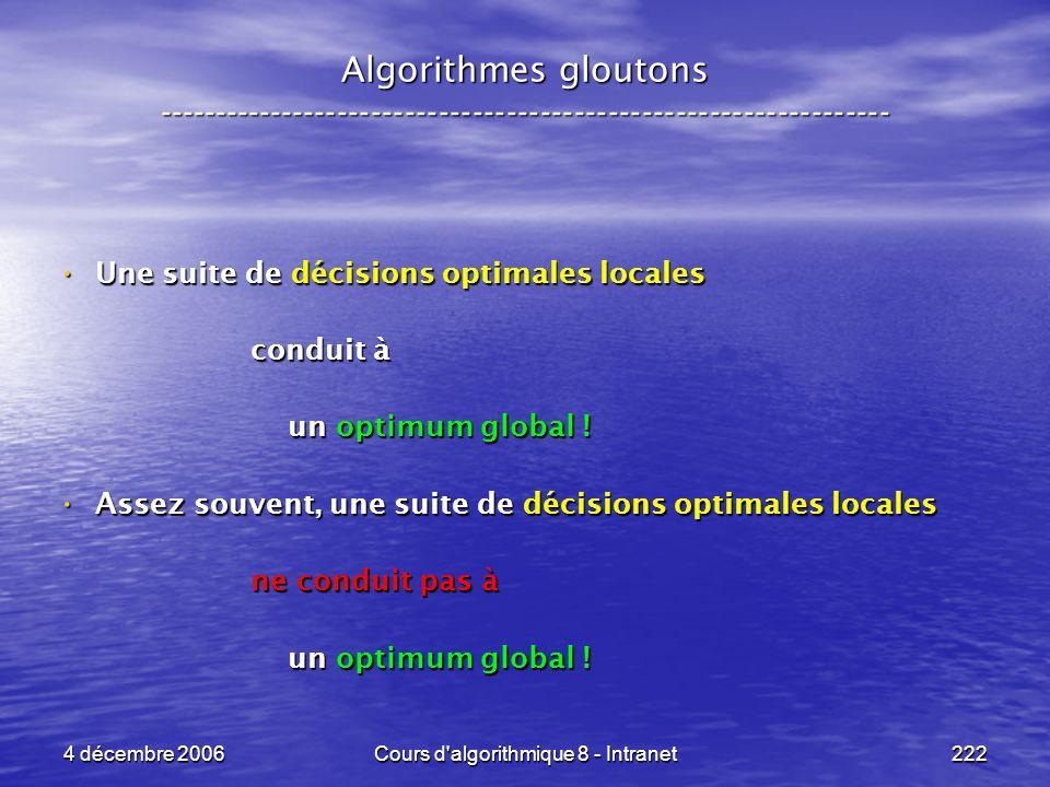 4 décembre 2006Cours d'algorithmique 8 - Intranet222 Algorithmes gloutons ----------------------------------------------------------------- Une suite