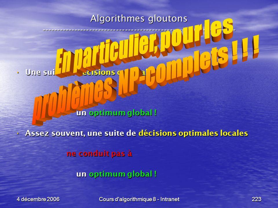 4 décembre 2006Cours d'algorithmique 8 - Intranet223 Algorithmes gloutons ----------------------------------------------------------------- Une suite