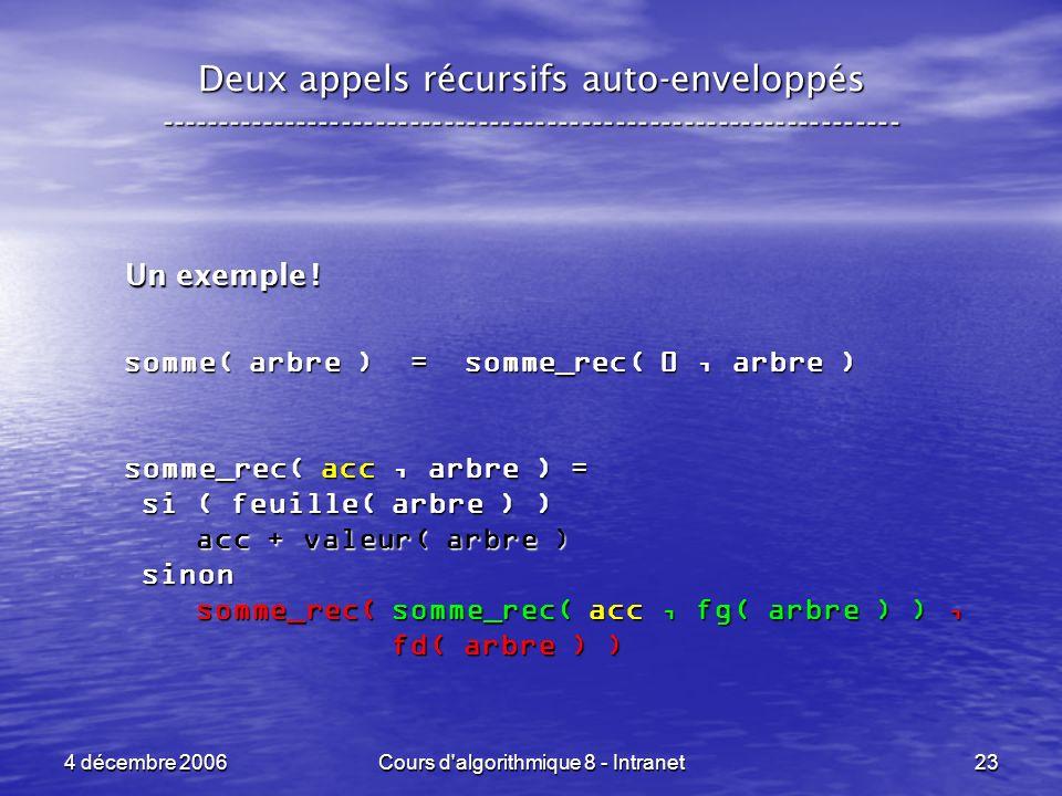 4 décembre 2006Cours d'algorithmique 8 - Intranet23 Deux appels récursifs auto-enveloppés ------------------------------------------------------------