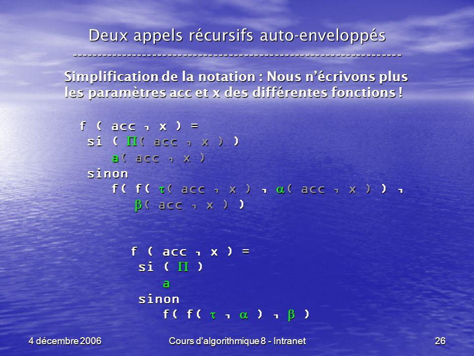 4 décembre 2006Cours d'algorithmique 8 - Intranet26 Deux appels récursifs auto-enveloppés ------------------------------------------------------------