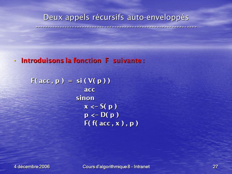 4 décembre 2006Cours d'algorithmique 8 - Intranet27 Deux appels récursifs auto-enveloppés ------------------------------------------------------------