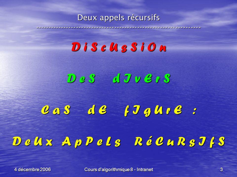 4 décembre 2006Cours d'algorithmique 8 - Intranet3 Deux appels récursifs ----------------------------------------------------------------- D i S c U s