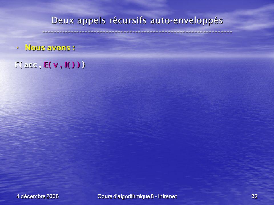 4 décembre 2006Cours d'algorithmique 8 - Intranet32 Deux appels récursifs auto-enveloppés ------------------------------------------------------------