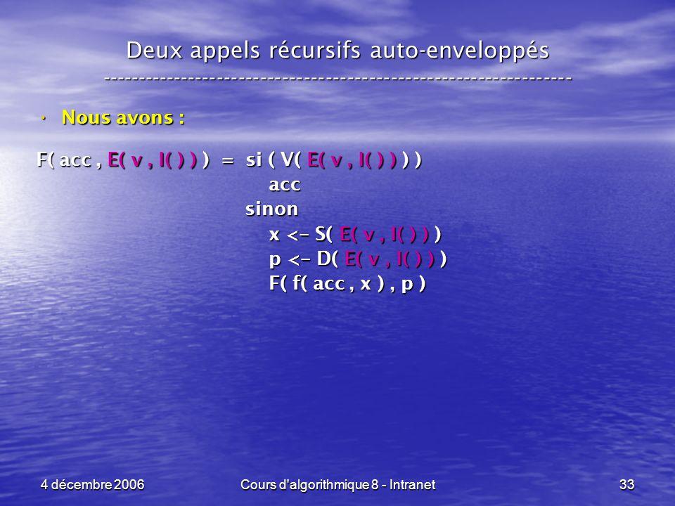 4 décembre 2006Cours d'algorithmique 8 - Intranet33 Deux appels récursifs auto-enveloppés ------------------------------------------------------------