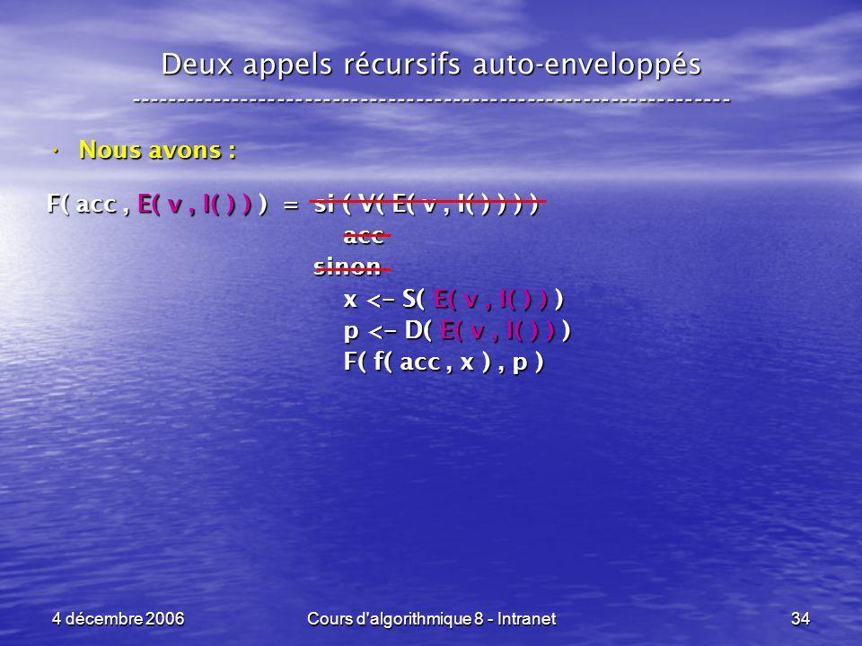 4 décembre 2006Cours d'algorithmique 8 - Intranet34 Deux appels récursifs auto-enveloppés ------------------------------------------------------------