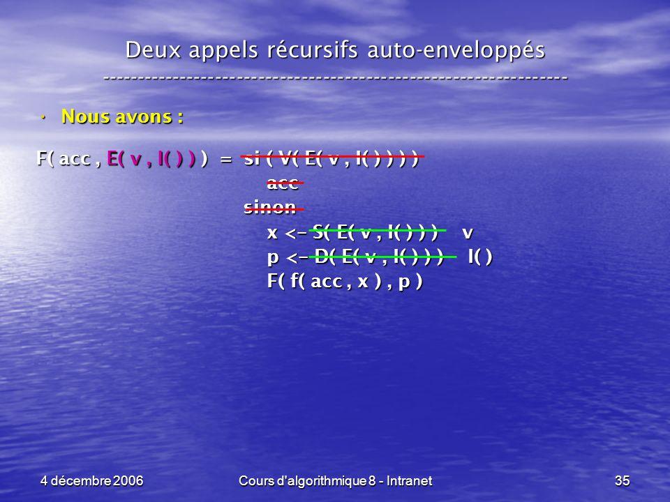 4 décembre 2006Cours d'algorithmique 8 - Intranet35 Deux appels récursifs auto-enveloppés ------------------------------------------------------------