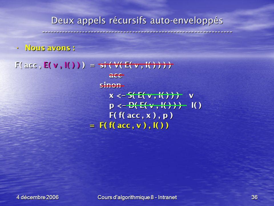 4 décembre 2006Cours d'algorithmique 8 - Intranet36 Deux appels récursifs auto-enveloppés ------------------------------------------------------------