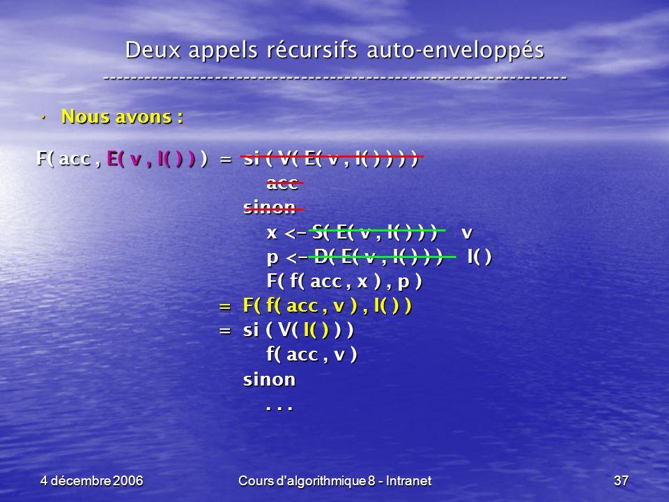 4 décembre 2006Cours d'algorithmique 8 - Intranet37 Deux appels récursifs auto-enveloppés ------------------------------------------------------------