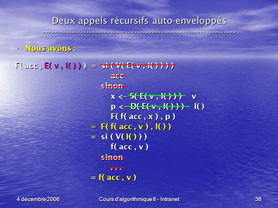 4 décembre 2006Cours d'algorithmique 8 - Intranet38 Deux appels récursifs auto-enveloppés ------------------------------------------------------------
