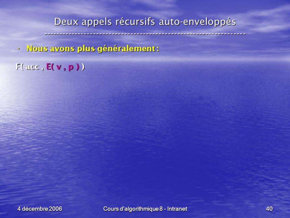 4 décembre 2006Cours d'algorithmique 8 - Intranet40 Deux appels récursifs auto-enveloppés ------------------------------------------------------------