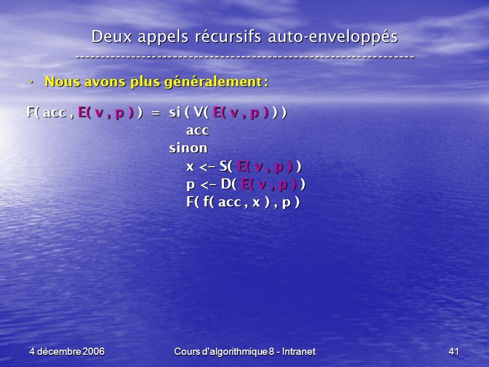 4 décembre 2006Cours d'algorithmique 8 - Intranet41 Deux appels récursifs auto-enveloppés ------------------------------------------------------------