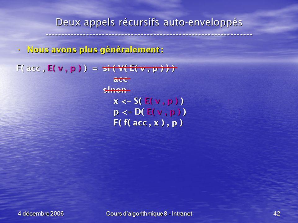4 décembre 2006Cours d'algorithmique 8 - Intranet42 Deux appels récursifs auto-enveloppés ------------------------------------------------------------
