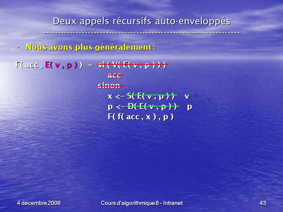 4 décembre 2006Cours d'algorithmique 8 - Intranet43 Deux appels récursifs auto-enveloppés ------------------------------------------------------------