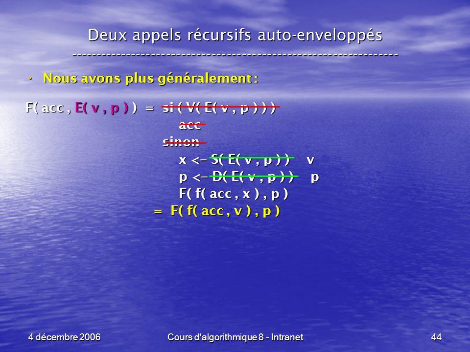 4 décembre 2006Cours d'algorithmique 8 - Intranet44 Deux appels récursifs auto-enveloppés ------------------------------------------------------------