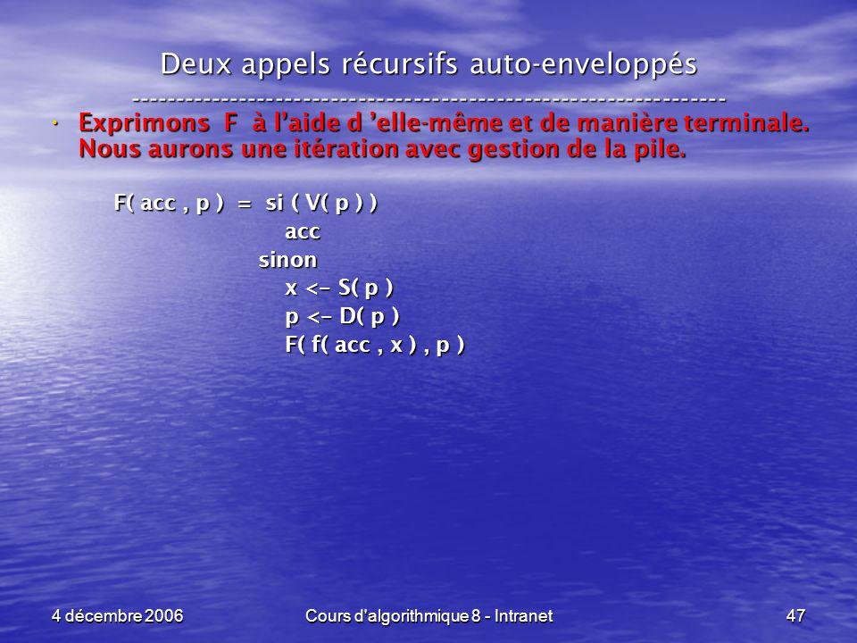 4 décembre 2006Cours d'algorithmique 8 - Intranet47 Deux appels récursifs auto-enveloppés ------------------------------------------------------------