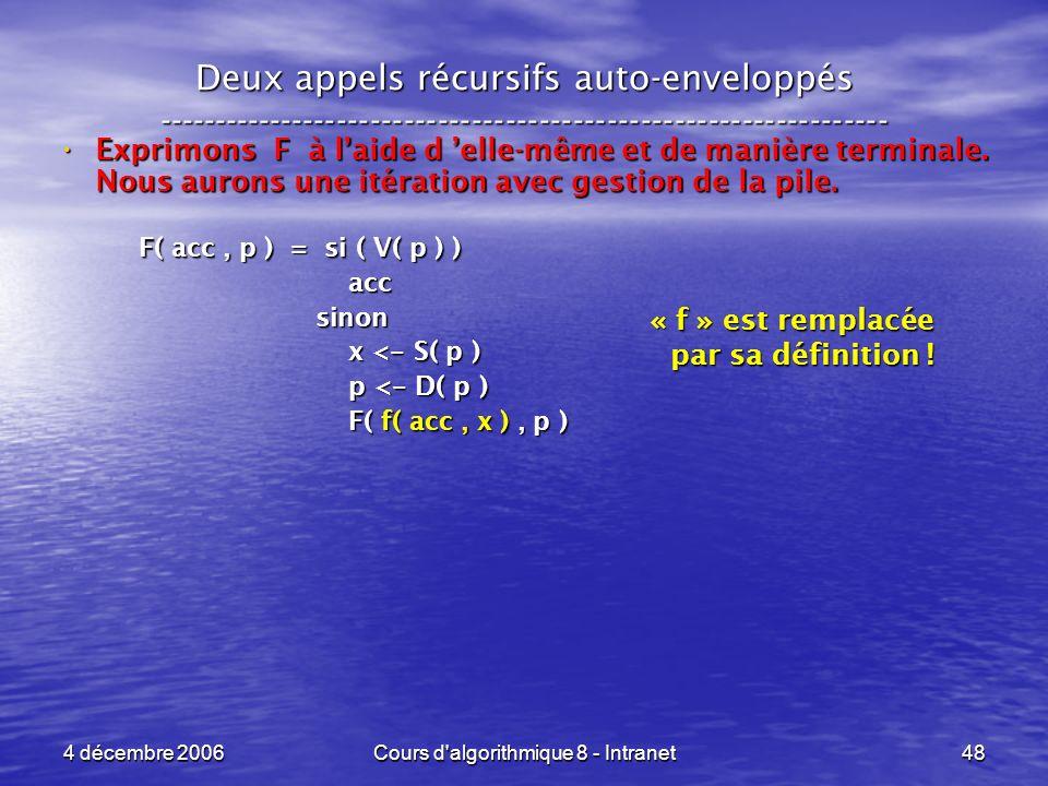 4 décembre 2006Cours d'algorithmique 8 - Intranet48 Deux appels récursifs auto-enveloppés ------------------------------------------------------------