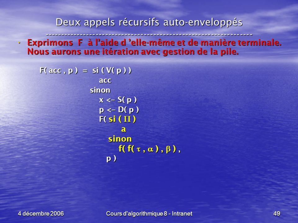 4 décembre 2006Cours d'algorithmique 8 - Intranet49 Deux appels récursifs auto-enveloppés ------------------------------------------------------------