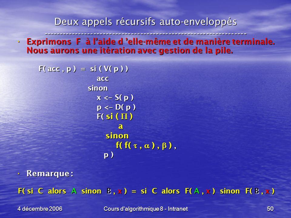 4 décembre 2006Cours d'algorithmique 8 - Intranet50 Deux appels récursifs auto-enveloppés ------------------------------------------------------------