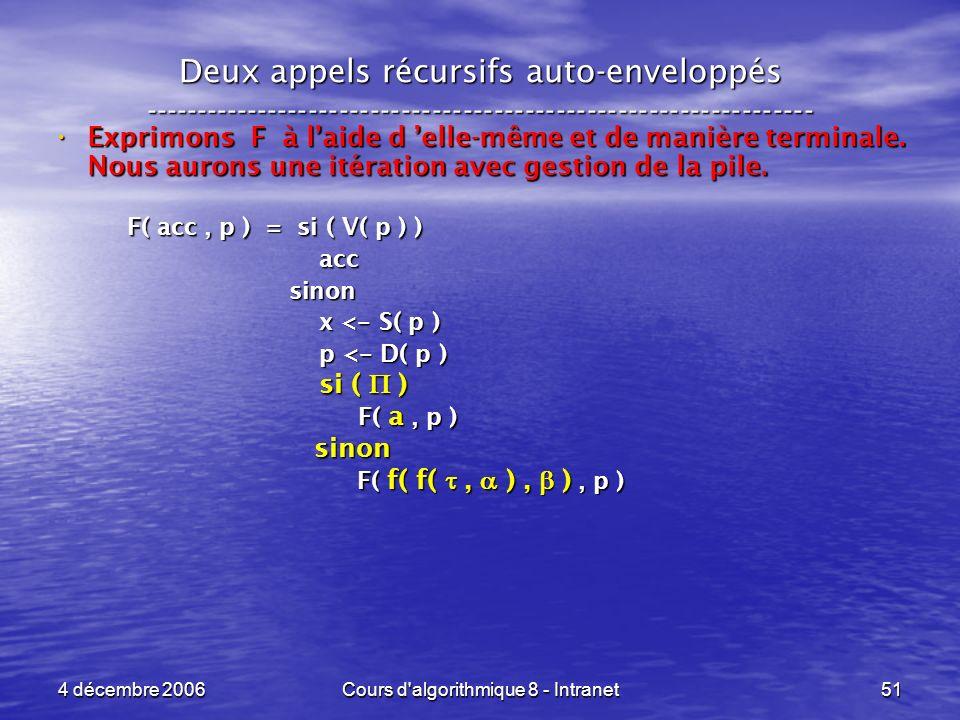 4 décembre 2006Cours d'algorithmique 8 - Intranet51 Deux appels récursifs auto-enveloppés ------------------------------------------------------------